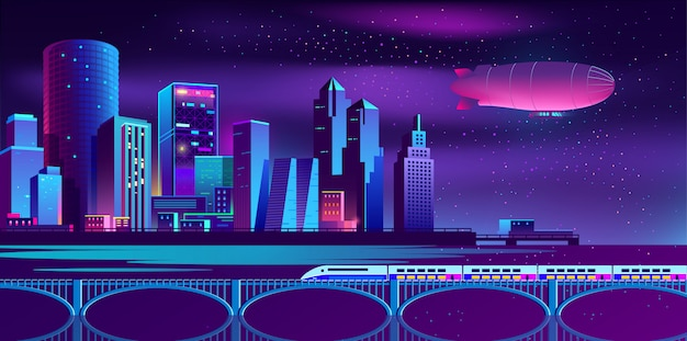Background with night city in neon lights