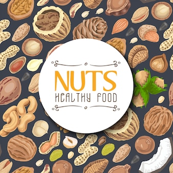 Background with nuts and seeds