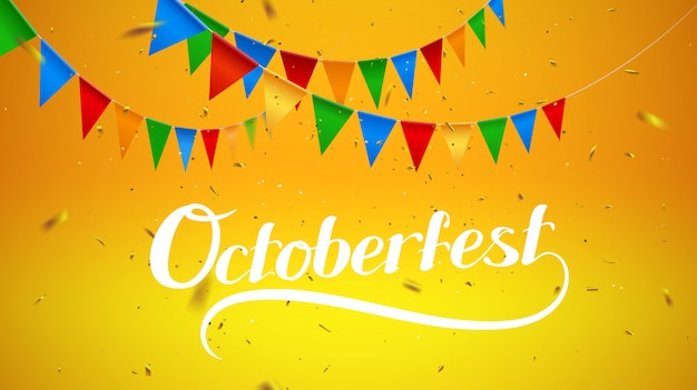 Background with oktoberfest lettering, holiday garland buntings of bavarian checkered yellow flag