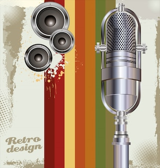 Background with old microphone