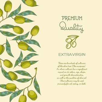 Background with olive branch and green olive