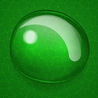 緑の葉に1つの大きな水滴の背景のクローズアップイラスト
