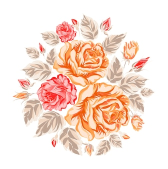 Background with orange and red flowers