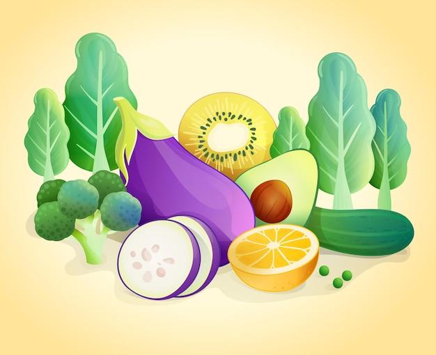 유기농 신선한 야채와 배경입니다. 및 과일 건강 식품. 벡터 일러스트 레이 션