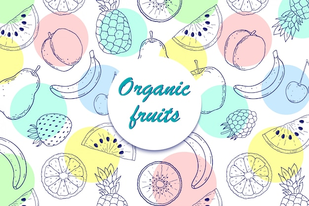 Background with organic fruits
