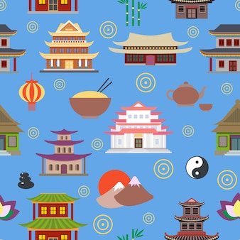 Background with oriental houses