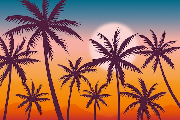Background with palm silhouettes theme
