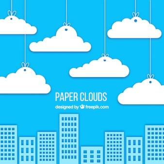 종이 구름과 배경