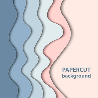Background with pastel blue and rose paper cut