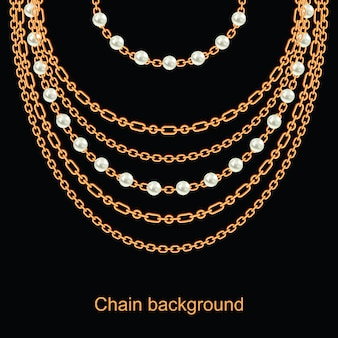 Background with pearls and chains golden metallic necklace