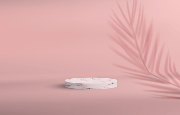 Background with a pedestal in a minimalistic style in pink pastel colors. empty stone podium for product demonstration with palm shadow. Premium Vector