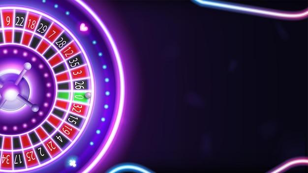 Фон с розовой неоновой рулеткой казино и копией пространства для вашего искусства