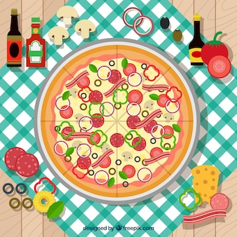 Background with a pizza on a tablecloth