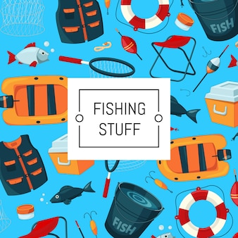 Background with place for text with cartoon fishing equipment illustration