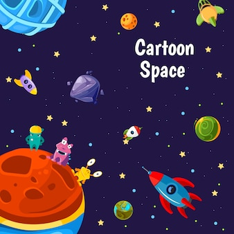 Background with place for text with cartoon space planets and ship set