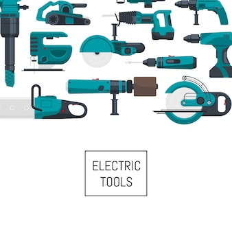 Background with place for text with electric construction tools illustration