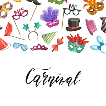Background with place for text with masks and party accessories