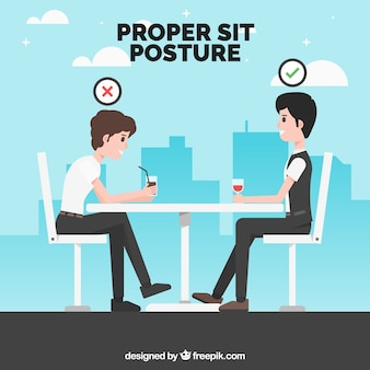 Background with proper and incorrect posture