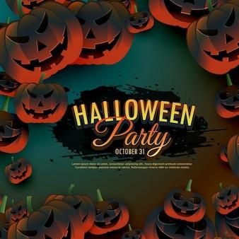 Halloween parte di fondo con zucche spaventosi bordo