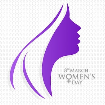 Background with purple silhouette for woman's day
