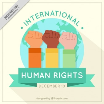 Background with raised fists for human rights day