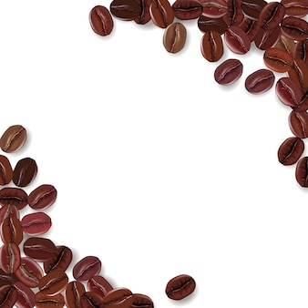 Background with realistic coffee beans and a place for text.