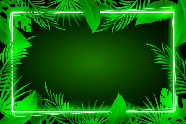 Background with realistic leaves with neon frame concept