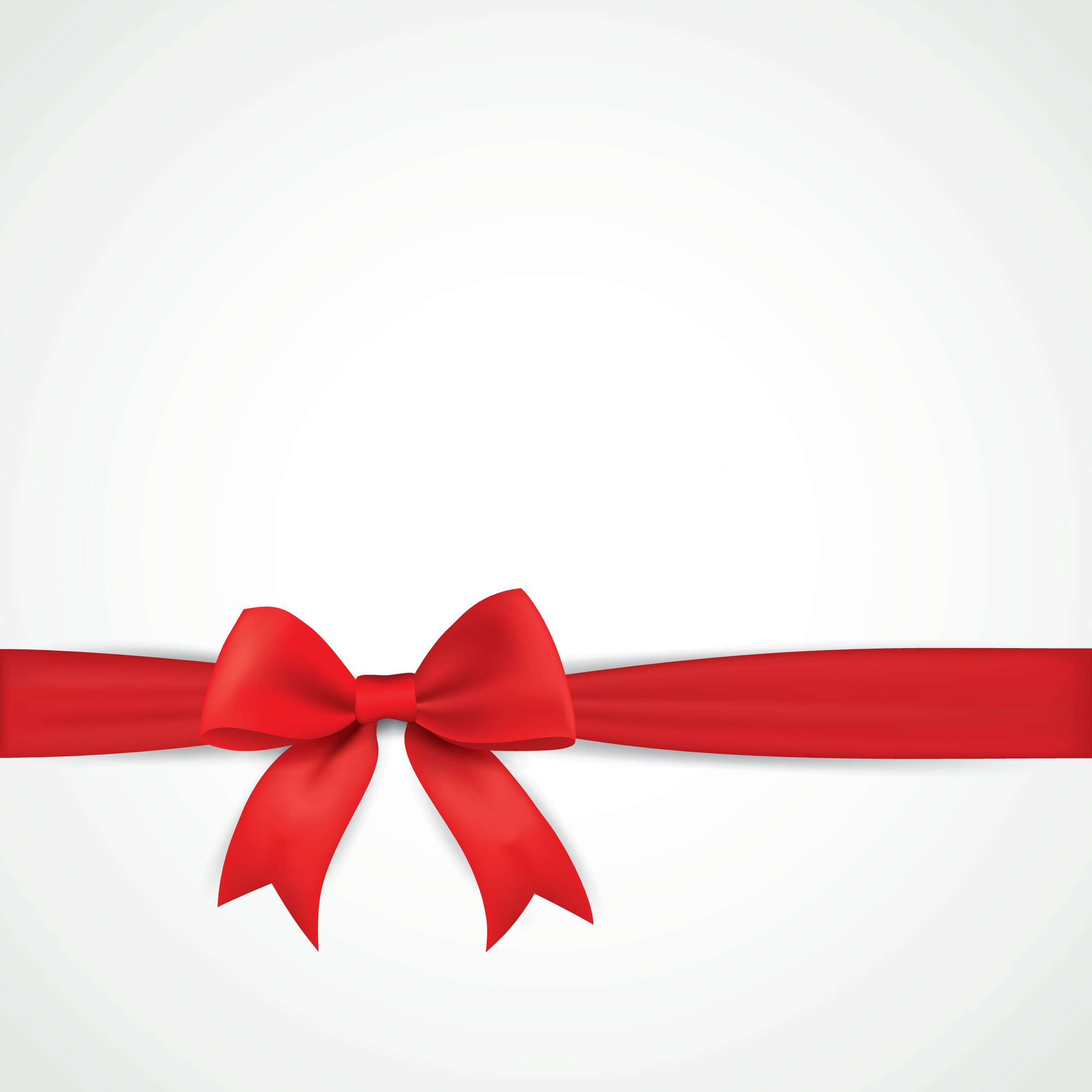 Background with realistic red bow and ribbon