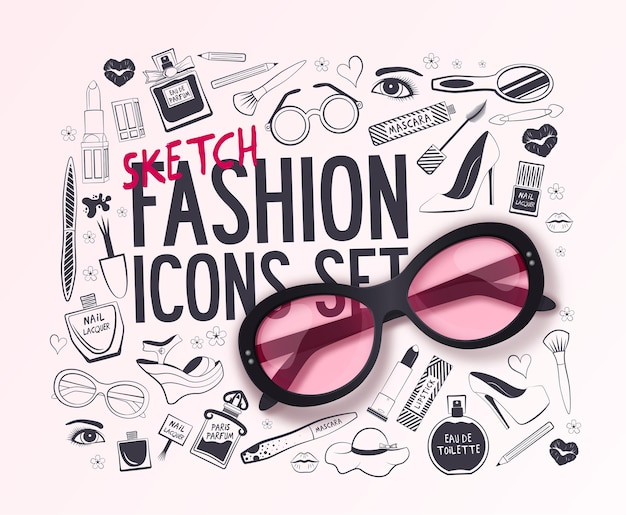 Background with realistic sunglass and set of fashion icons