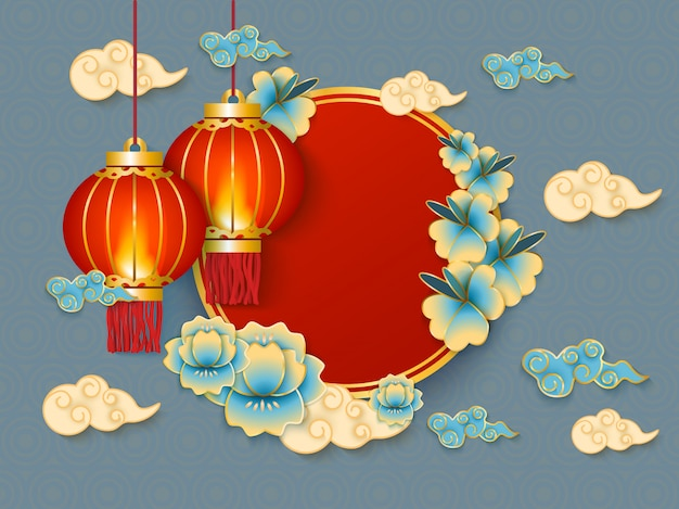 Background with red hanging traditional chinese lanterns, white clouds and flowers