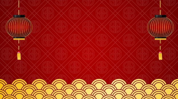 Background with red lanterns and chinese design