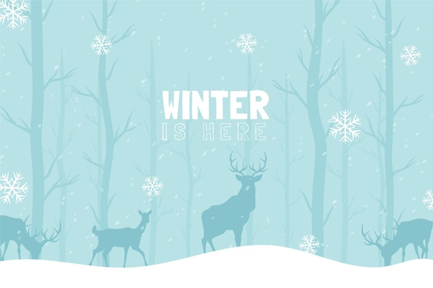 Background with reindeers and winter is here message