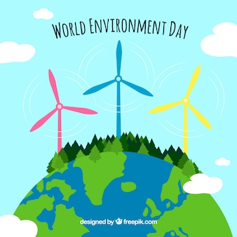 Background with renewable energy for world environment day