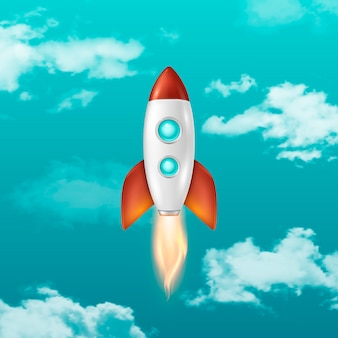 Background with retro space rocket ship launch