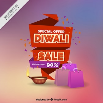 Background with ribbons sales diwali