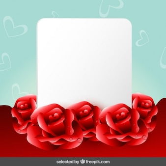 Background with roses and blank card