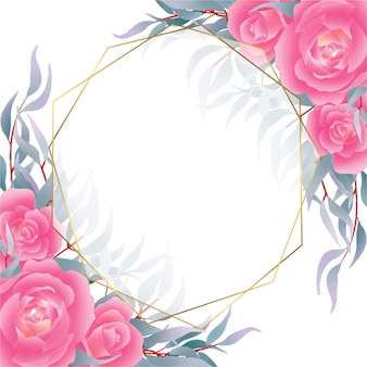 Background with roses and navy leaves decoration in watercolor style
