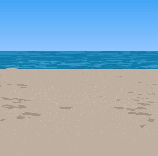 Фон с песчаным пляжем и морем и голубым небом