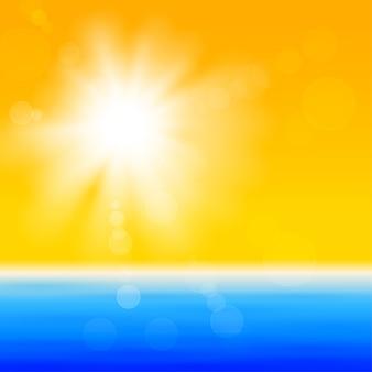 海の上の光沢のある太陽と背景