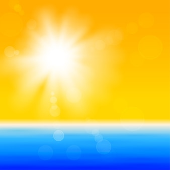 Background with shiny sun over the sea