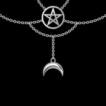 Background with silver metallic necklace. pentagram pendant and chains. on black. vector illustration.