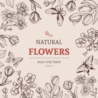 빈티지 스타일의 스케치 꽃 배경