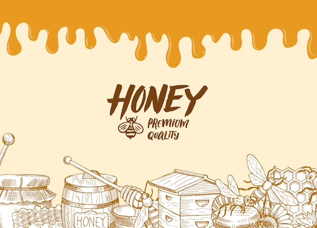 Background with sketched contoured honey theme elements, dripping honey and place for text illustration