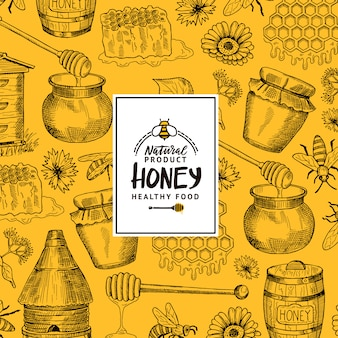 Background  with sketched contoured honey theme elements with logobadge for hone shopfarm