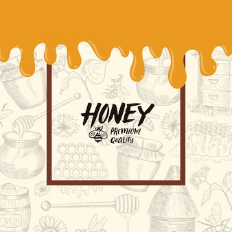 Background with sketched honey elements, dripping honey banner illustration