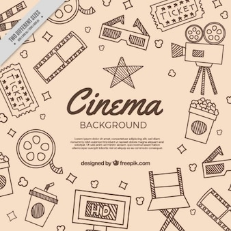 Background with sketches of traditional film elements