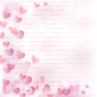 Background with small pink hearts and handwritten text