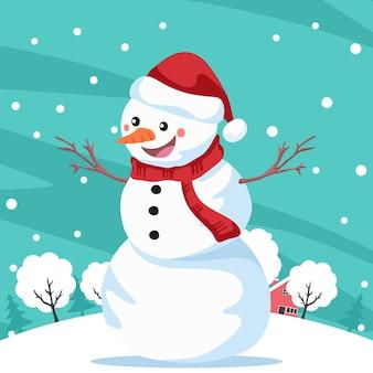 Фон с улыбающимся снеговиком над пейзажем со снежинками