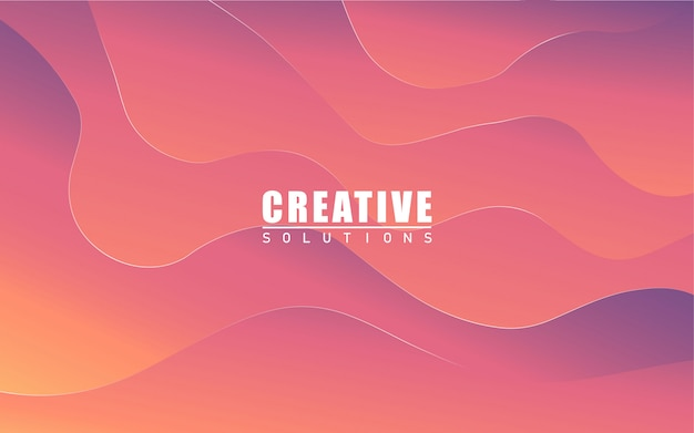 Background with smooth wave shapes in orange and purole gradient