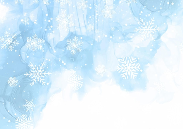 Background with snowflake design on a hand painted watercolour design Free Vector